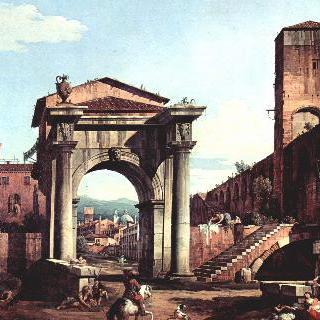 로마의 모습을 그린 카프리초 - 도시 성문과 방어탑