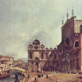 베네치아의 산티 조반니 에 파올로 성당 앞의 광장