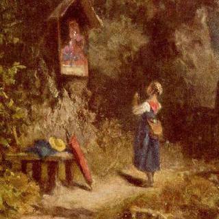 숲 속에서 기도하는 시골 소녀