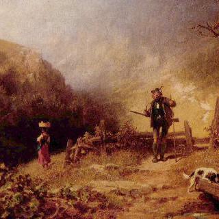 멀어져 가는 처녀의 뒷모습을 지켜보는 사냥꾼