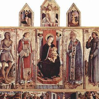 왕좌에 앉아 있는 성모 성인들, 그리스도 수난의 장면들, 수태고지와 수난의 그리스도