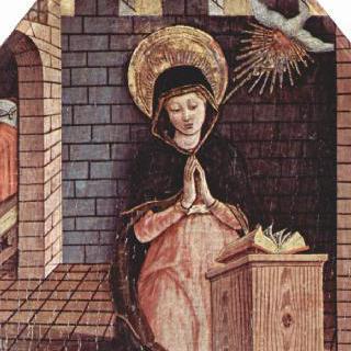 마사 페르마나의 산 실베스트로 교회 제단화, 왼쪽 상단 패널 : 수태고지의 마리아