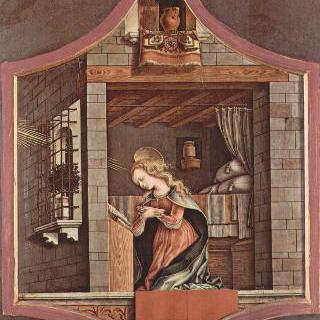 여러 폭 제단화, 오른쪽 상단 : 수태고지의 마리아