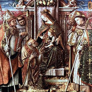 열쇠 인도 : 왕좌에 앉아 있는 성모와 성 베드로에게 열쇠를 건네주는 아기 예수
