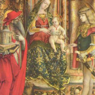오도니 제단화, 가운데 패널 : 왕좌에 앉아 있는 성모, 성 히에로니무스와 성 세바스찬