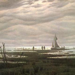 그라이프스발트 만의 평지 풍경 (바다 그림, 발트 해변의 저녁)