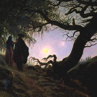 달을 응시하는 남자와 여자