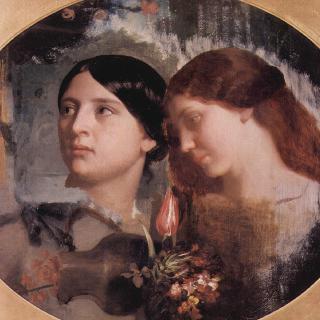 꽃다발을 든 두 여인, 타원형 그림