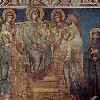 왕좌에 앉아 있는 성모, 네 천사와 성프란체스코