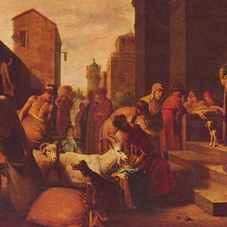 자루에서 발견된 은잔을 가지고 요셉 앞에 돌아온 형제들