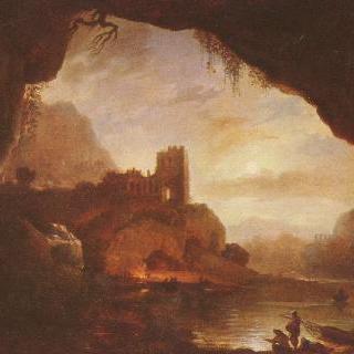 폐허가 된 성이 있는 풍경