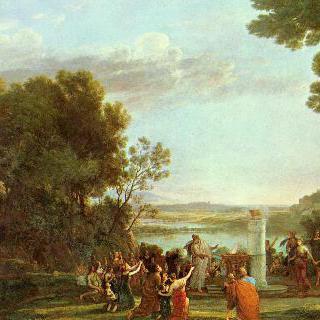 황금 송아지를 숭배하는 사람들이 있는 풍경