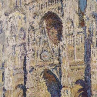루앙 대성당 (정문과 생 로맹 탑, 강한 햇빛, 파란색과 금색 조화)