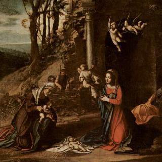 그리스도의 탄생, 성 엘리사벳과 세례 요한 및 잠자는 요셉과 함께