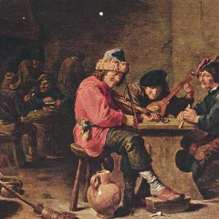 음악을 연주하는 세 명의 농부들