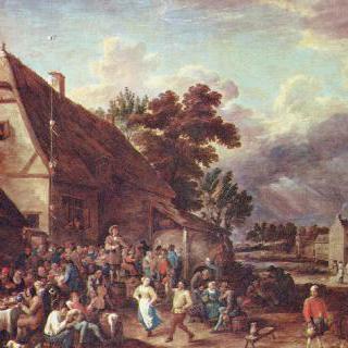 춤추는 남녀가 있는 성대한 마을장 축제
