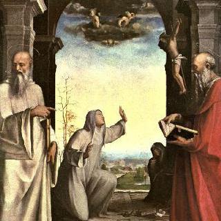 성흔을 받는 성 카타리나, 그리고 성 베네딕토와 성 히에로니무스, 제단장식화