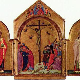 십자가처형의 세 폭 제단화, 왼쪽 : 성 니콜라우스, 오른쪽 : 성 그레고리우스