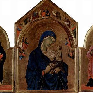 성모 마리아와 천사들과 선지자들, 성도미니쿠스, 성아그네스