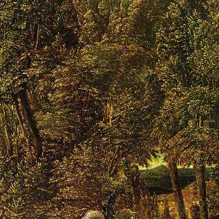 성 게오르기우스가 용과 싸우는 숲 속 풍경