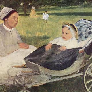 가정교사와 함께 있는 아기 시절 앙리 발팽송의 초상