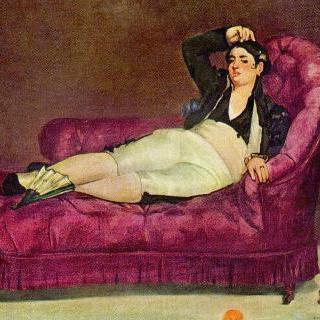 스페인 복장을 하고 기대어 누워 있는 젊은 여인
