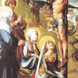성모칠고 (성모 마리아의 일곱 가지 고통), 가운데 패널 : 십자가에 못 박힌 그리스도