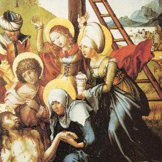 성모칠고 (성모 마리아의 일곱 가지 고통), 가운데 패널 : 그리스도를 애도함