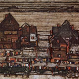 빨랫줄이 걸린 집들, 또는 도시 변두리