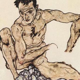 쪼그리고 앉아 있는 남성 누드 (자화상)