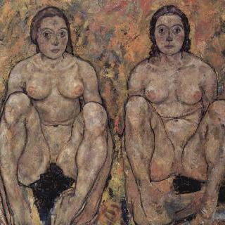 쪼그리고 앉아 있는 한 쌍의 여인들