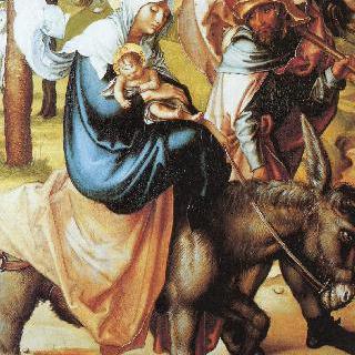 성모칠고 (성모 마리아의 일곱 가지 고통), 가운데 패널 : 이집트로의 피신