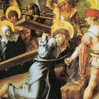 성모칠고 (성모 마리아의 일곱 가지 고통), 가운데 패널 : 십자가를 지고 감