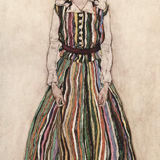 줄무늬 옷을 입은 에디트 실레의 초상