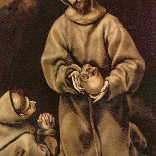 죽음에 대해 성찰하는 성 프란체스코와 수도사 레오