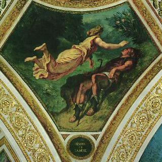 부르봉 궁전, '시학의 둥근 천장'에 그려진 그림 : 헤시오도스와 뮤즈