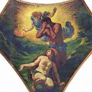 부르봉 궁전, '신학의 둥근 천장'에 그려진 그림 : 아담과 이브