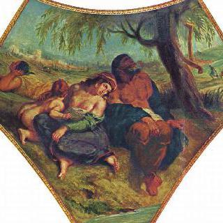 부르봉 궁전, '신학의 둥근 천장'에 그려진 그림 : 바빌론 유수