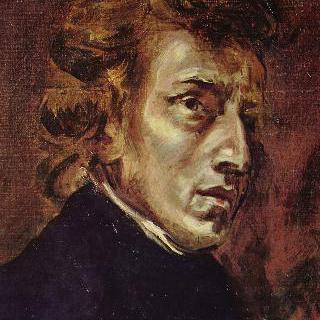 프레데리크 쇼팽의 초상. 원래는 쇼팽과 조르주 상드를 그린 더 큰 그림의 일부분임