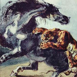 말을 습격하는 호랑이