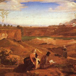 성 가족과 아기 모습의 세례 요한이 있는 풍경