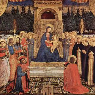 왕좌에 앉아 있는 성모와 성인들, 그림 전면에서 무릎 꿇고 있는 코스마스와 다미안 이미지
