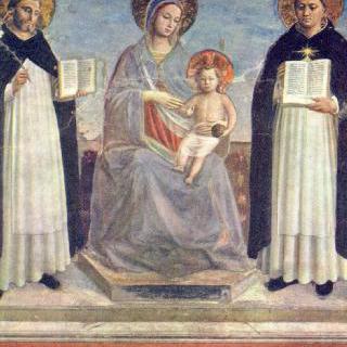 성 도미니쿠스와 토마스와 함께 있는 마리아