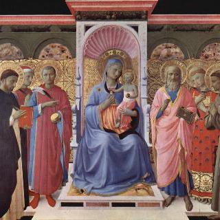 왕좌에 앉아 있는 마리아와 아기 예수 및 성인들