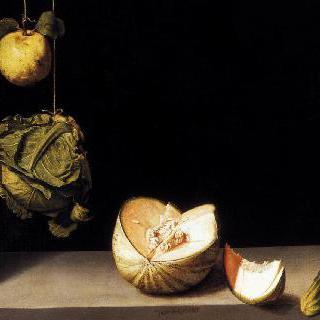 마르멜로, 양배추, 멜론과 오이가 있는 정물