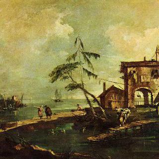 카프리초 : 허물어져 가는 교회, 농가, 그리고 해안호로 흘러드는 강가의 인물들