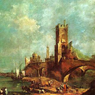 카프리초 : 탑들이 많은 도시 부근의 아치형 통로