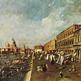 책가게들이 있는 베네치아의 부두, 살루테 교회 쪽으로 바라본 모습
