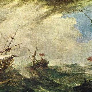 폭풍우치는 바다의 배들