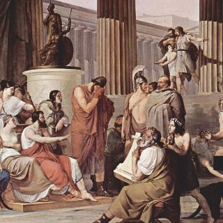 알키노오스의 왕궁에 있는 오디세우스
